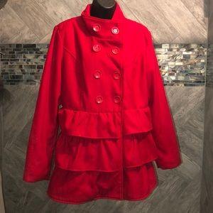 Stunning red ruffled coat